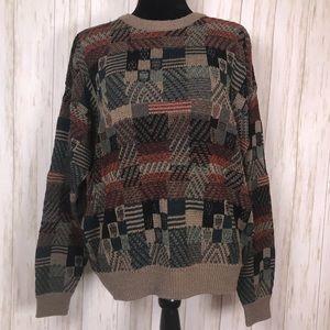 Jantzen Cosby style grandpa sweater green men's L